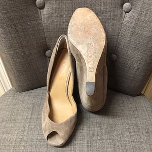 Michael Kors Shoes - Michael Kors tan suede peep toe wedges sz 8